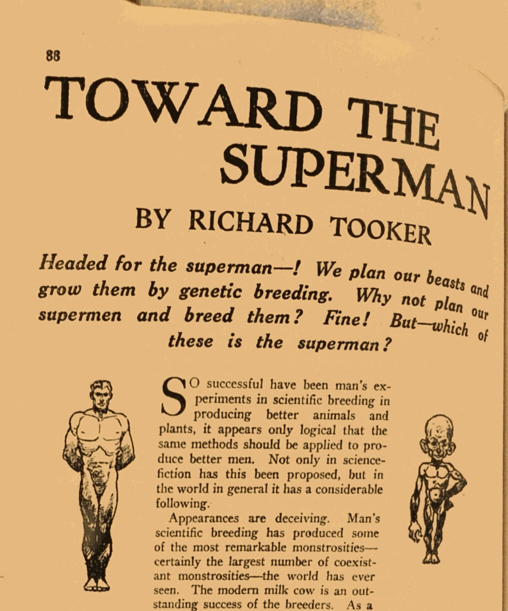 "A headline reads ""Toward the Superman."" A Figure on the left is a muscular, tall Caucasian man. The figure on the right is a small, large-headed Caucasian man."