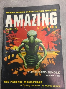 This cover of Amazing Stories shows a creature with the head of a cricket, a torso that is erect like a human's two octopus-tentacle arms, and the tail of a snake. It seems friendly.