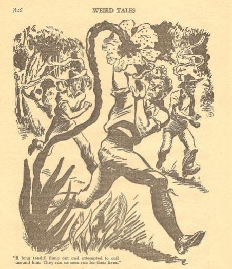 Three men are drawn running down a path through dark woods. A long vine looming over the character in the forefront.