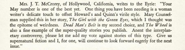 "Image shows a clip from the July 1933 ""Eyrie."" The writer of the letter, Mrs. J.T. McCrorey emphasizes that the magazine has been needing ""a woman writer's delicate touch"""
