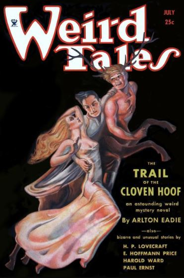 Cover of Weird Tales July 1934. The cover has a black background and shows a man holding onto the chest of a blonde centaur with stag horns with one hand, and a woman with long blonde hair and a sheer dress with the other.