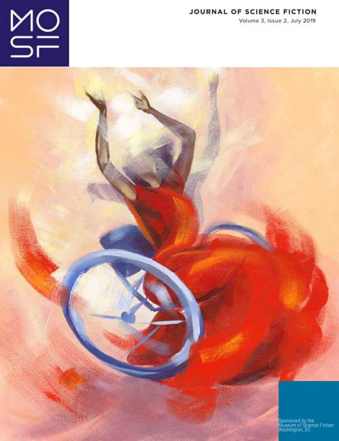 Cover of the Journal of Science Fiction, showing an impressionist painting of a person using a wheelchair wearing a red dress.