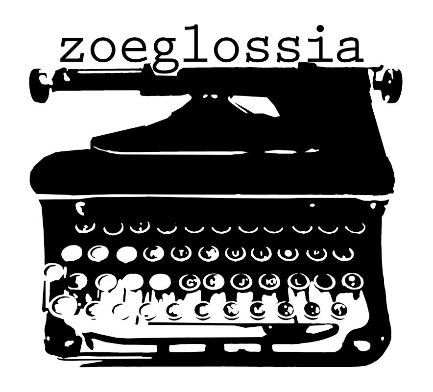 Black and white zoeglossia logo featuring a high contrast rendering of poet Larry Eigner's typewriter.