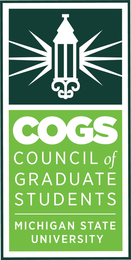 "In white on a dark green background, an elaborate lamp shines. Beneath are the words ""COGS Council of Graduate Students Michigan State University"" in white letters on a lighter green background."