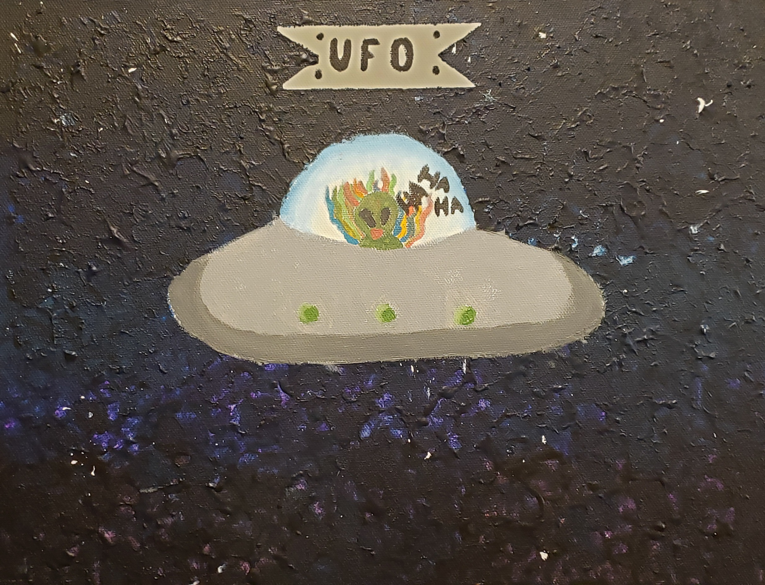 A canvas is painted in deep blues and black so thick that the ripples are evident from ambient lighting. The painting has a texture that is weighty and immediately present. In the center of the canvas is a gray flying saucer with a clear dome. From within the dome a green alien is wreathed in multiple shades of red, green, blue, and orange. The alien is laughing, as evidenced by the speech bubbles next to it saying ha ha ha. At the top of the painting is a ribbon that says UFO.