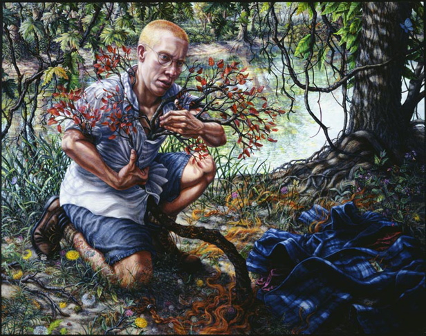 Riva Lehrer's portrait of Eli Clare. Eli, a white disabled genderqueer person, kneels on a forest floor. He has short hair and glasses, wears a button-up shirt, shorts, and hiking shoes, and is clutching a small tree that comes up through his shirt. On the ground near him are a flannel shirt and clippings of his hair