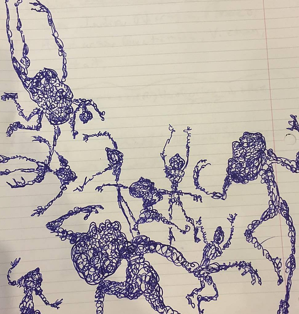 On a background of lined paper, figures dance. The figures are traced in swirls of black ink. Some figures have discernible heads, and some do not. Some figures could be the silhouettes of frogs or spiders or headless bodies. All have a various number of limbs that are caught mid-swirls or motion. Some arms curl in protectively, others fly up or out in bursts of emotion. One figure may be laying on its back or flying through space.