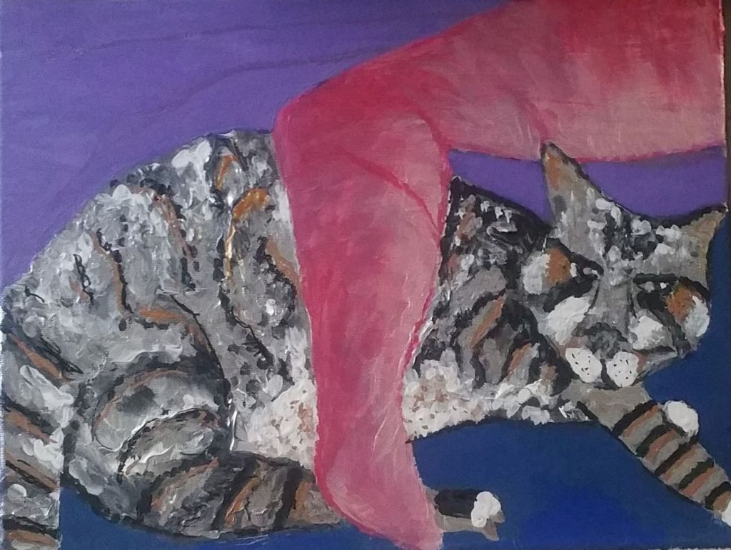 On a purple background, a black, gray, and tan striped cat rests. Its eyes look of the canvas, connecting to someone beyond the bounds of the painting. The cat is embraced by a large, pink amputee arm. The shading seems to indicate that a light comes from the cat, and the affect of the image is generally calm and welcoming.